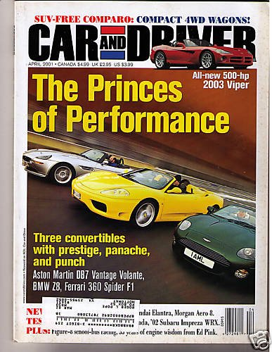 Car and Driver Magazine April 2001 Aston Martin Ferrari