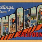 LONG BEACH, California large letter linen postcard Teich
