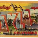 OAKLAND, California large letter linen postcard Teich