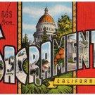 SACRAMENTO, California large letter linen postcard Kropp