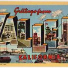 VALLEJO, California large letter linen postcard Teich