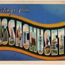 MASSACHUSETTS large letter linen postcard Teich