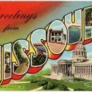 MISSOURI large letter linen postcard Teich