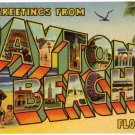 DAYTONA BEACH, Florida large letter linen postcard Teich