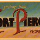 FORT PIERCE, Florida large letter linen postcard Dexter