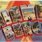 MIAMI BEACH, Florida large letter linen postcard Tichnor