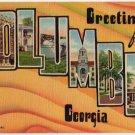 COLUMBUS, Georgia large letter linen postcard Teich