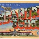 INFANTRY SCHOOL, Georgia large letter linen postcard Teich