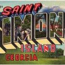 SAINT SIMONS ISLAND, Georgia large letter linen postcard Teich