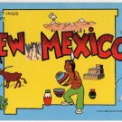 NEW MEXICO large letter linen postcard Kropp