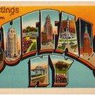 BUFFALO, New York large letter linen postcard Metropolitan