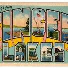 FINGER LAKES, New York large letter linen postcard Eastern Photo