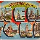 NEW YORK large letter linen postcard Tichnor