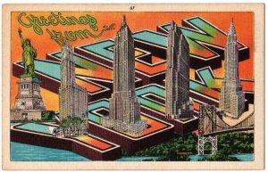NEW YORK large letter linen postcard Metropolitan