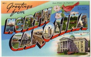 NORTH CAROLINA large letter linen postcard Tichnor