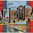 AURORA, Illinois large letter linen postcard Kropp