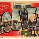 JOLIET, Illinois large letter linen postcard Teich