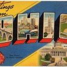 OHIO large letter linen postcard Tichnor