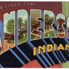ANDERSON, Indiana large letter linen postcard Teich