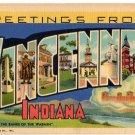 VINCENNES, Indiana large letter linen postcard Teich