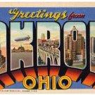 AKRON, Ohio large letter linen postcard Teich