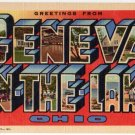 GENEVA ON-THE-LAKE, Ohio large letter linen postcard Teich