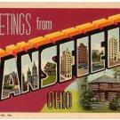 MANSFIELD, Ohio large letter linen postcard Teich
