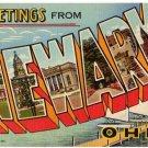 NEWARK, Ohio large letter linen postcard Teich