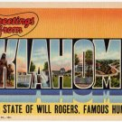 OKLAHOMA large letter linen postcard Teich
