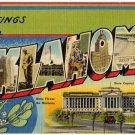 OKLAHOMA large letter linen postcard Tichnor