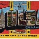 TULSA, Oklahoma large letter linen postcard Kropp