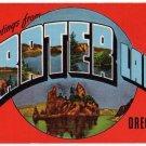 CRATER LAKE, Oregon large letter linen postcard Kropp