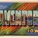 DAVENPORT, Iowa large letter linen postcard Teich