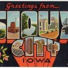 SIOUX CITY, Iowa large letter linen postcard Teich