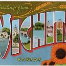 WICHITA, Kansas large letter linen postcard Kropp