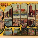 BANGOR, Maine large letter linen postcard Tichnor