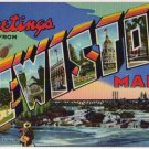 LEWISTON, Maine large letter linen postcard Teich