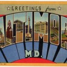 BALTIMORE, Maryland large letter linen postcard Teich