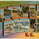 MYRTLE BEACH, South Carolina large letter linen postcard Tichnor