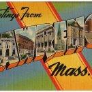 LAWRENCE, Massachusetts large letter linen postcard Tichnor