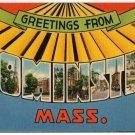 LEOMINSTER, Massachusetts large letter linen postcard Tichnor