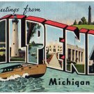 ALPENA, Michigan large letter linen postcard Kropp