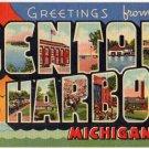 BENTON HARBOR, Michigan large letter linen postcard Teich