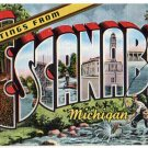 ESCANABA, Michigan large letter linen postcard Kropp