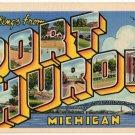 PORT HURON, Michigan large letter linen postcard Teich