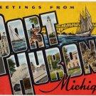 PORT HURON, Michigan large letter linen postcard Kropp