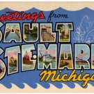 SAULT STE. MARIE, Michigan large letter linen postcard Teich