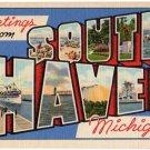 SOUTH HAVEN, Michigan large letter linen postcard Teich