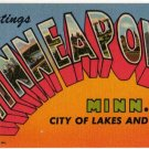 MINNEAPOLIS, Minnesota large letter linen postcard Teich