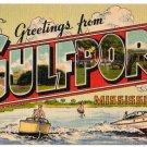 GULFPORT, Mississippi large letter linen postcard Colourpicture